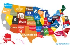 The Corporate States of America. States and their famous brands