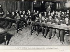 IMMIGRATION: Italian immigrants in evening English language class, Morgan St., Hartford, Connecticut c. 1900