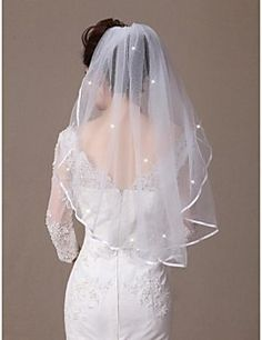 One-tier Elbow Veils  Ribbon Edge  Scatter Crystals with Com... – USD $ 11.99