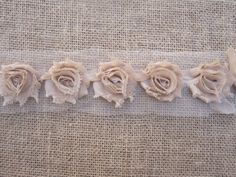 Mini Nude Shabby flower rosette trim - chiffon shabby rose - 1/2 yard - 1 yard - each - wholesale by WidowsLoveWholesale on Etsy https://www.etsy.com/listing/189098771/mini-nude-shabby-flower-rosette-trim