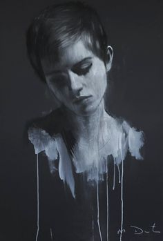 The AMAZING Mark Demsteader and his work of Emma Watson #portrait #painting #black #white #woman #face #mark #demsteader