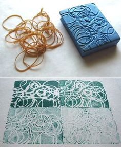 Make your own stamps with clay & string (or etch)