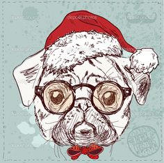 Vintage illustration of hipster santa pug dog with glasses and bow ...