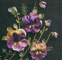 Silk Ribbon Pansies