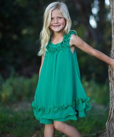 Look at this Trish Scully Child Green Ruffle Dress - Toddler & Girls on #zulily today!