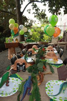 Awsome Dino Table setting for the Little ones - great ideas to build on just from Pic.