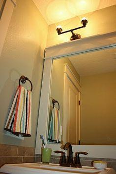 Style of mirror trim Framed Mirrors, Bathroom Mirrors, Bathroom Ideas, Half Bath Decor, Home Remodeling, House Renovations, Guest Bathrooms, Home Furniture, Furniture Ideas