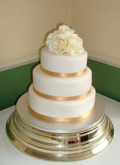 square wedding cakes 3 tier with gold | 01527 576703 - Wedding Cakes, Birthday Cakes, Christening Cakes, Cake ...