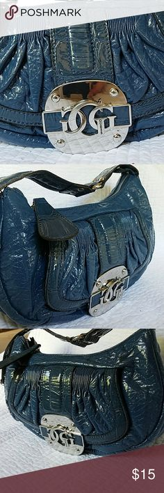 Guess bag Blue shiny leather Guess bag with clasp front small pocket and  large zipper pocket 93a73094cfa9c