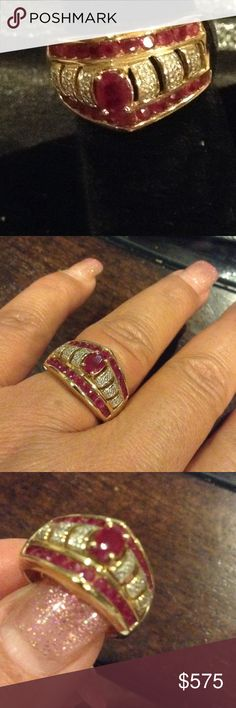 Ruby/Diamond accent Ring Heavy set in 10kt yellow gold ring. Gorgeous natural rubies Jewelry Rings