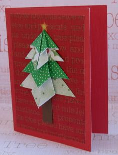 Origami Christmas Tree Cards - Thrifty Christmas