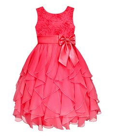 Look what I found on #zulily! Coral Rosette Cascade Dress - Girls' Plus by American Princess #zulilyfinds