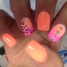 thats cute but maybe instead of two ombre nails all of them and cheetah print on the whole ring finger
