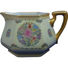 """Bernardaud & Co. (B.&Co.) Limoges Arts & Crafts Floral Design Cider Pitcher (Signed """"Mabel Duwe""""/c. 1900-1914)"""
