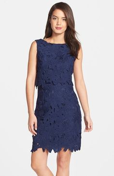 Ellen Tracy Eyelet Lace Popover Dress available at #Nordstrom
