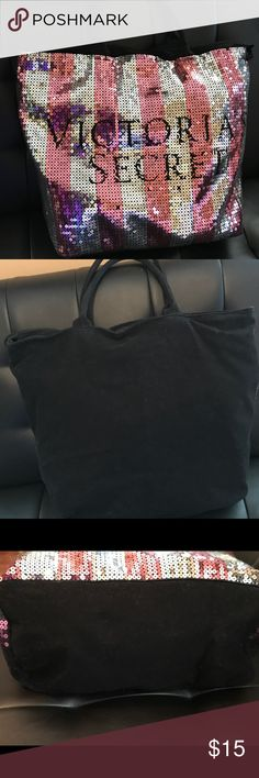 """Victoria's Secret Sequin Tote This tote is beautiful and fits so much!  It is good condition aside from missing a couple of sequins and the top part of the zipper.  It still works just fine. ( See Photos). It can easily be replaced for very little money. (No problem!  She's ready to go. This is why I am listing it lower than what it is worth.). It measures 15"""" x 15"""" x 7"""".  It's very clean. Victoria's Secret Bags Totes"""