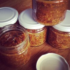handmade mustard with smoked plum, smoked pepper and honey