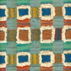 Light Blue Geometric Upholstery Yardage - Blue Orange Home Furnishing Fabric - Blue Textured Pillow Material - Green Yellow Orange Fabric