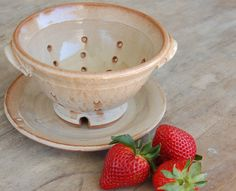 Berry Bowl, Stoneware Pottery Keramik Serving Dining Kitchen Home Decor Berry Colander in Cream and Cinnamon. $40.00, via Etsy.