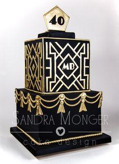 Art Deco Birthday Cake – cake by Sandra Monger - Birthday Cake Blue Ideen Happy 19th Birthday, Birthday Cake For Mom, Cute Birthday Gift, 40th Birthday Cakes, 70th Birthday Parties, Birthday Party Tables, Birthday Wishes, Birthday Ideas, Great Gatsby Cake
