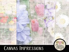Shabby Floral Digital Paper Pack -  Canvas Impressions - Printable Floral Art - Digital Scrapbook Paper Backgrounds by ClikchicDesign #photoshop #graphic #design by Clikchic Designs