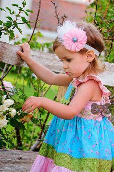 MORE COLORSBoutique StylePink Chiffon FlowerAqua by CutieCouture4u