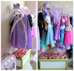 dress up station--ooh easy shelf installed! Great idea for our play room