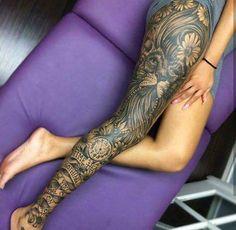 awesome leg tattoo