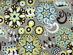 Grey Paisley Flower Print Fabric by the Yard by KlassyBabyBoutique