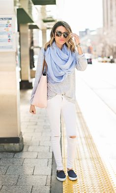 Casual layers | powder blue scarf | grey henley | white skinny jeans | blush tote