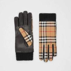 3019d271886 Burberry Cashmere-lined Vintage Check and Lambskin Gloves