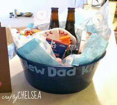 """New Dad Kit""- that's a neat idea to add for a baby shower if dad is going to be there!  Crafty Chelsea: 25 Things to Do Before Your Baby is Born"