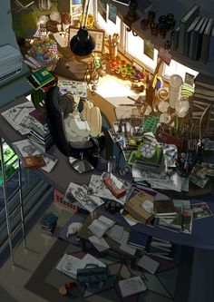 Digital Illustration - DigitalArt - Japan - Anime - Illustration - Manga - Comics - ComputerIllustration, - Illustration by 'Kurono' (b. Art And Illustration, Manga Art, Anime Art, Desu Desu, Messy Room, Anime Kunst, Anime Scenery, Anime Style, Aesthetic Art