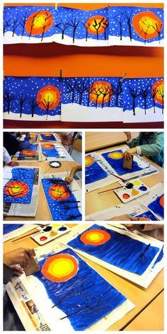 Winter Crafts For Kids Winter Art Projects, Winter Project, Winter Crafts For Kids, Diy Crafts For Kids, Art For Kids, Cadeau Parents, Kindergarten Art Projects, Atelier D Art, Ecole Art