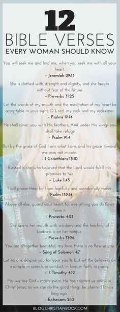 12 Bible Verses Every Woman Should Know by kristy Life gets busy and finding time out with the Bible can be difficult. Here are the Bible verses to encourage, heal and nourish women in all seasons of life. Prayer Scriptures, Bible Prayers, Bible Verses Quotes, Bible Quotes For Women, Bible Verses For Encouragement, Bible Verses For Girls, Motivational Bible Verses, Proverbs Verses, Strength Scriptures