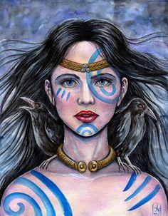 Pictish face paint with a Celtic torc. Templo de Morrigu: Morrigham - a mensageira da luta¹
