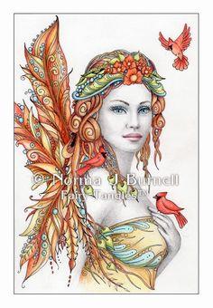"Fairy Tangles: ""Crimson Wind"" - Original Fairy-Tangles™ Fantasy Art by Norma J Burnell"