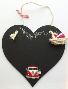 personalised chalkboard with campervan - hand painted to order so you can have any van colour & a personalised number plate