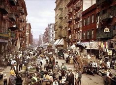 Postcard Little Italy - Mulberry Street, on the Lower East Side, NY Manhattan ca. Lower East Side, Little Italy, New York City, New York Street, First Color Photograph, Papua Nova Guiné, Trinidad E Tobago, Photo New, Rare Historical Photos