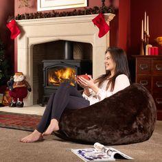 Brown Faux Fur Bean Bag | BeanBagBazaar #Christmas #designer #British #cosy