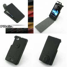 PDair Ultra Thin Leather Case for Sony Xperia J ST26 - Flip Top Type (Black)