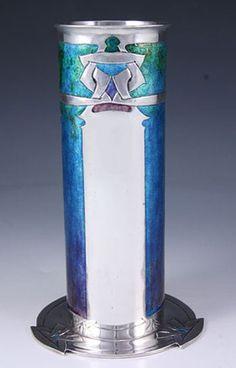 Liberty & Co. Archibald Knox Cymric Silver & Enamel Vase Arts & Crafts Style