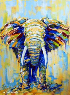 Africa Elephant decor Animal painting colorful Paintings On Canvas original art Extra Large framed Wall art Dinning Room palette knife Large Framed Wall Art, Canvas Wall Art, Colorful Animal Paintings, Elephant Wall Art, Nursery Paintings, Nursery Artwork, Whimsical Art, Animal Drawings, Original Paintings
