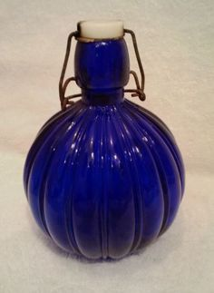 Vintage Antique Round Cobalt Blue Verticle Ribbed Wire Bail Glass Bottle