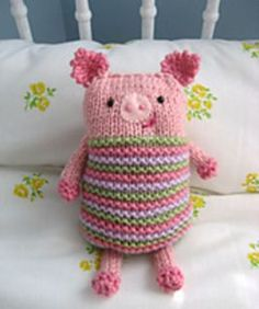 This cute little Piggy is something I whipped up while playing around with the Knook, the new tool from Leisure Arts that lets you knit with a crochet hook.