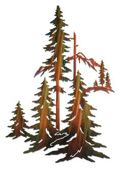 Forest Pine Trees Metal Wall Sculpture More