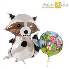 Ballonbukett - Happy Birthday mit Waschbär und Tieren des Waldes  Waschbär im Partyfieber! Wer schon immer wissen wollte, wie die Tiere des Waldes feiern, findet hier die richtige Antwort. Festlich geschmückt (Aufschrift: Happy Birthday) präsentiert sich die Natur in bunter Pracht. Feierlich überreicht, wird dieses Ballonbukett durch den Waschbären höchstpersönlich.