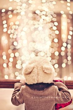 A little holiday magic with some pretty bokeh and sweet childhood wonder. All I Want For Christmas, Noel Christmas, Little Christmas, All Things Christmas, Winter Christmas, Christmas Lights, Xmas, Holiday Lights, Nanu Nana
