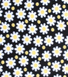 Blizzard Fleece Fabric-Daisy Dots Black 5.49