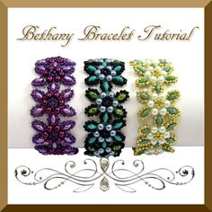 Pdf Tutorial Beadwork Bethany Bracelet with Super Duo Beads and Pearls, Pattern, Instructions.